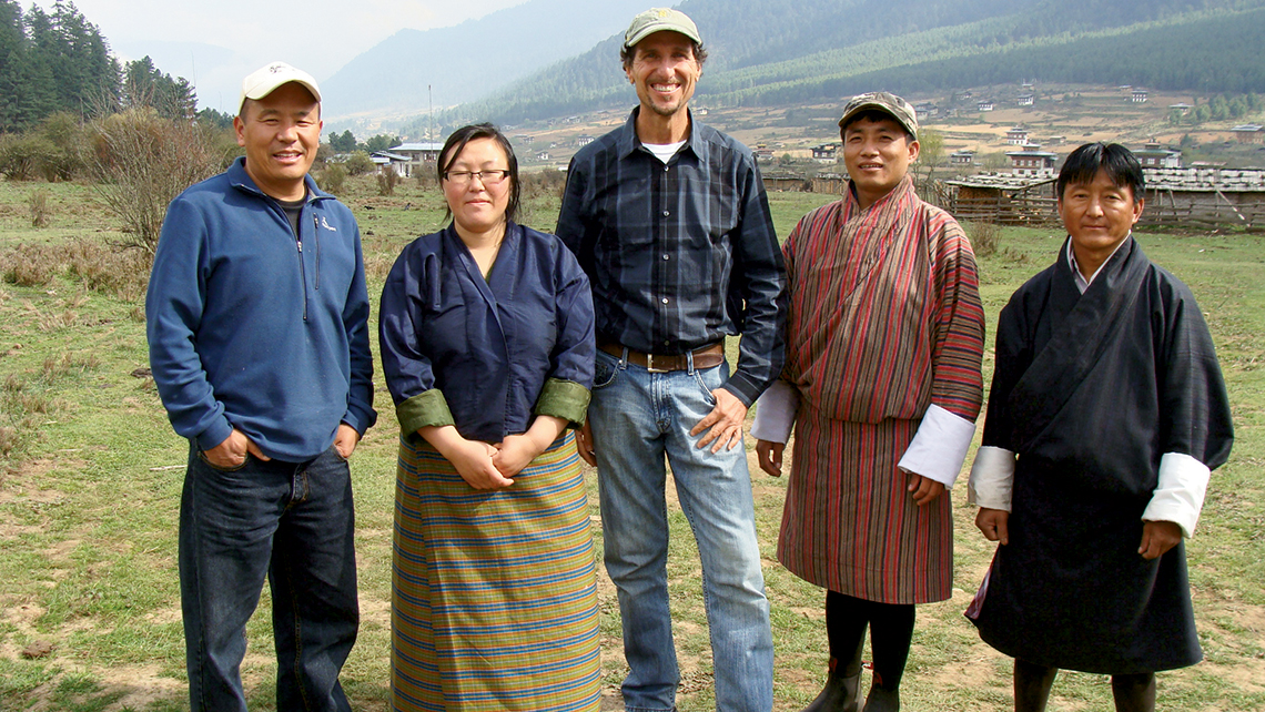 Costas Christ of Virtuoso (center), is working with local community leaders in Bhutan on a national sustainable tourism plan for the Himalayan kingdom.