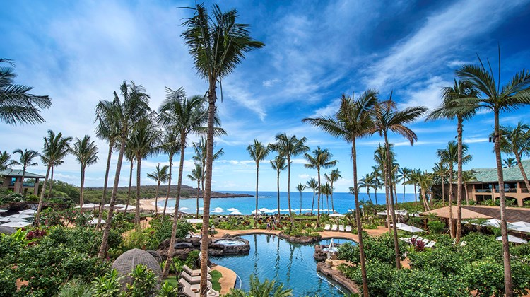 A view from the lobby of the Four Seasons Resort Lanai.
