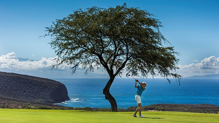 Built on lava outcroppings, the Jack Nicklaus-designed Manele Golf Course features three holes on oceanside cliffs.