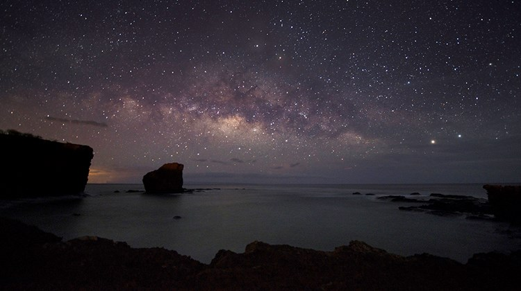The stars over Pu'upehe, otherwise known as Sweetheart Rock.