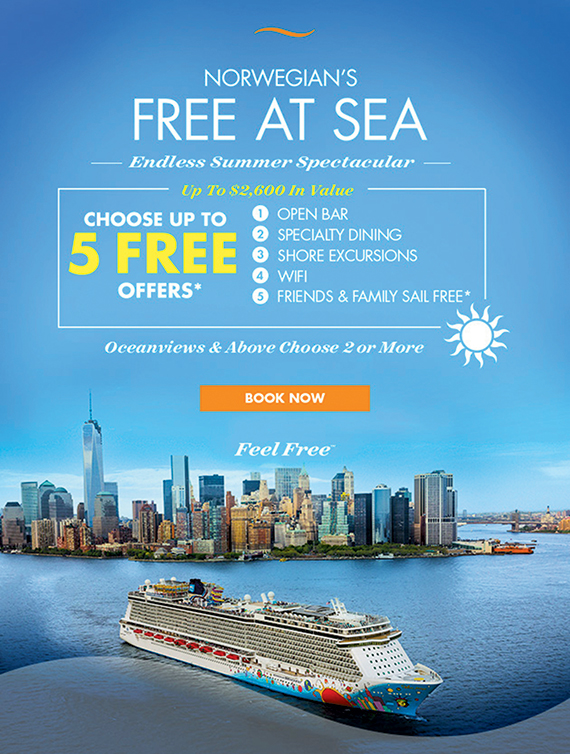 A Norwegian Cruise Line promotion offers a choice of up to five free offers.