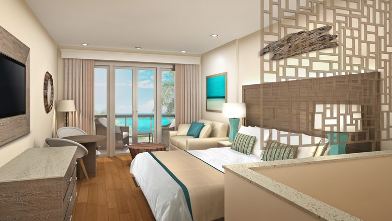 A guestroom at the Waves Hotel & Spa.