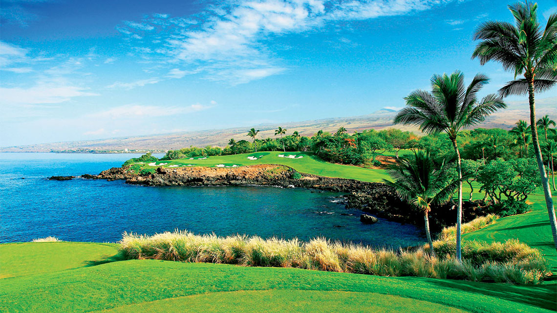 The third hole at the Mauna Kea Golf Course on the Big Island of Hawaii.