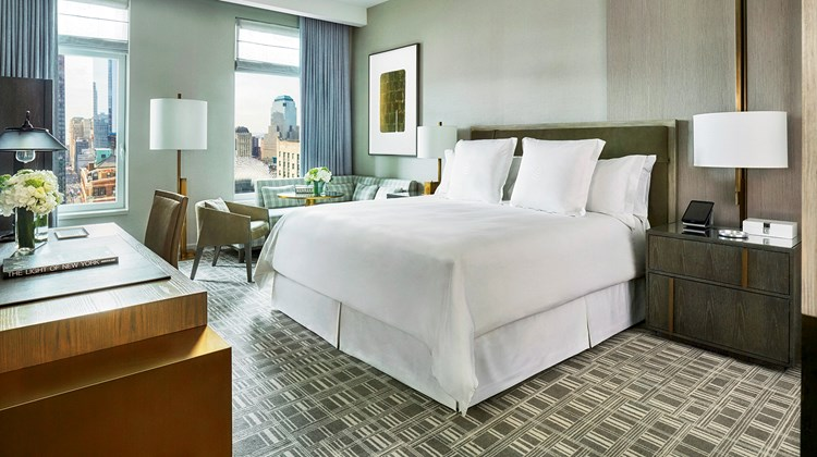 A guestroom at the Four Seasons Hotel New York Downtown, which is the hotelier's second property in the city.