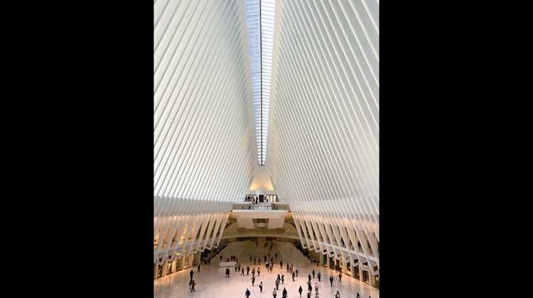 The interior of the Oculus, which was designed by Spanish architect Santiago Calatrava, over the World Trade Center Transportation Hub that serves PATH commuter trains coming from New Jersey.