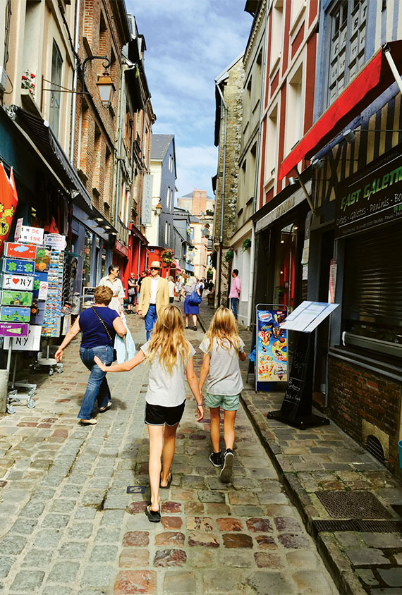 The author's children make their way down a Honfleur street. Photo Credit: Melissa Coleman