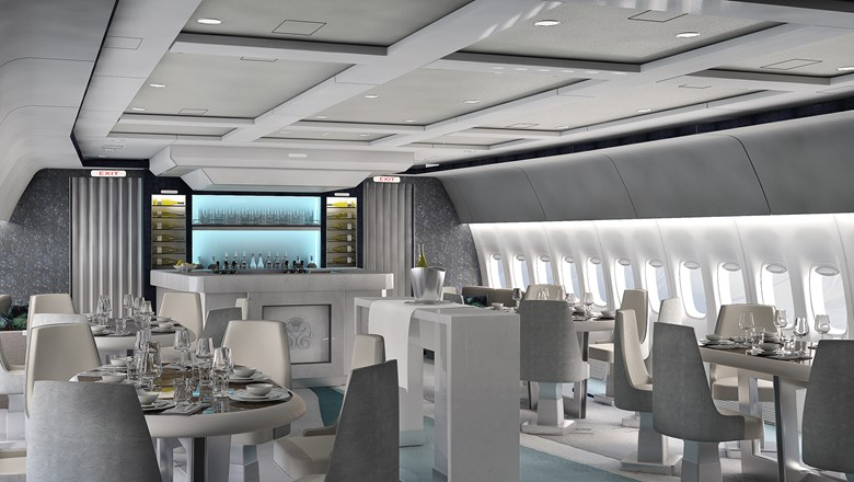 A rendering of the dining cabin on a CrystalAir jet.