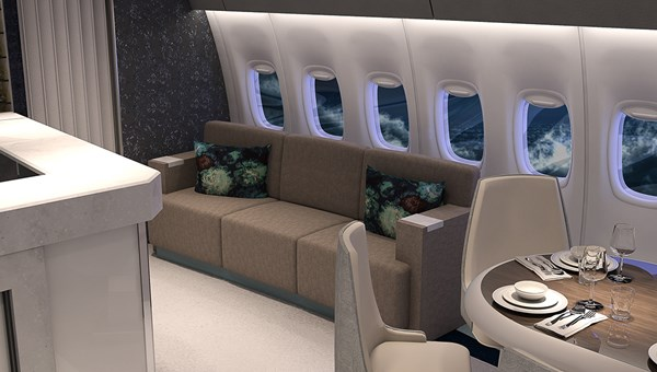 "The Boeing 777 will have a bar and lounge area. More than 300 wine bottles will be stored in a ""sky cellar."""