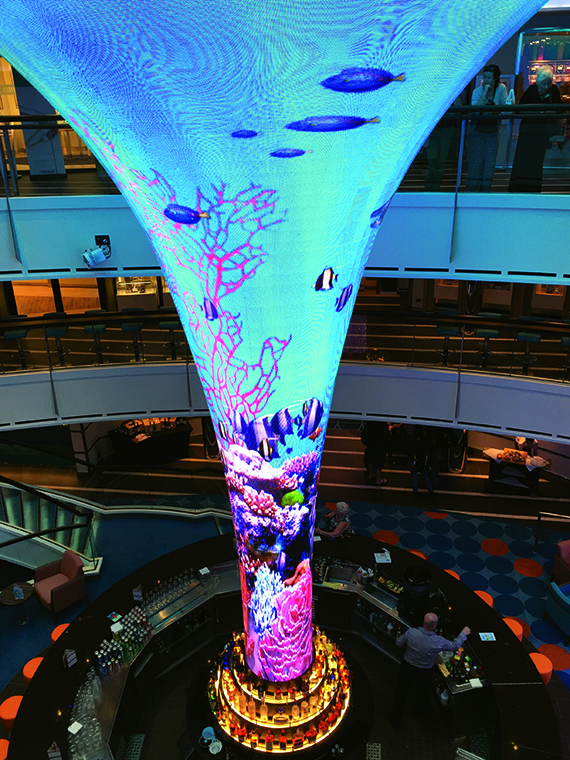 Dreamscape on the Carnival Vista harkens back to the style of former Carnival designer Joe Farcus.