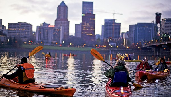 The Willamette River is popular for kayaking.