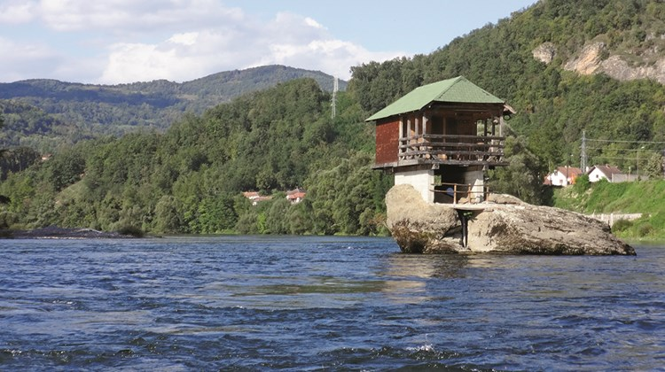 This small fishing cabin sits elevated on rocks above the Drina River, which marks Serbia&#39;s western border with Bosnia.<br /><br /><strong>Photo Credit: Robert Silk</strong>
