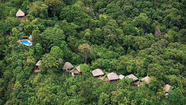 An aerial view of the Lapa Rios Eco Lodge on Costa Rica's Osa Peninsula.