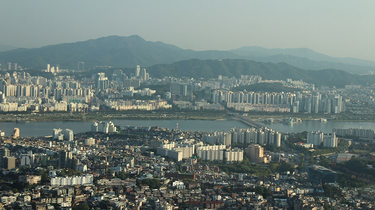 View from the Seoul Tower, the city's highest point.