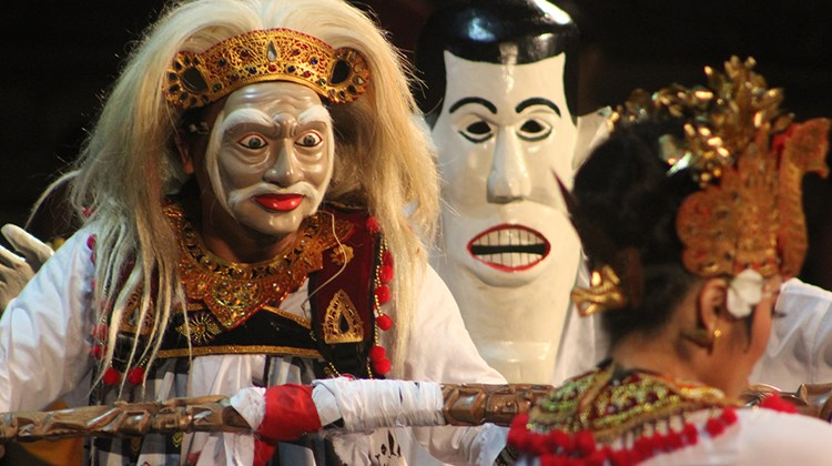 An Indonesian troupe performs at the Andong Mask Dance Festival.