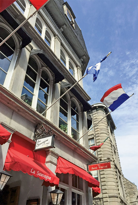 La Sauvagine, a restaurant on Rue Saint Paul in Old Montreal. The historical neighborhood is just steps from the new cruise terminal that is scheduled to open in May.