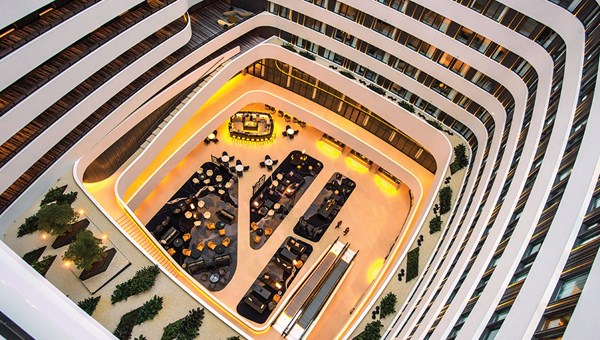 The Hilton Amsterdam Airport Schiphol has a 140-foot-high atrium and a cubist design created by Dutch architecture firm Mecanoo.