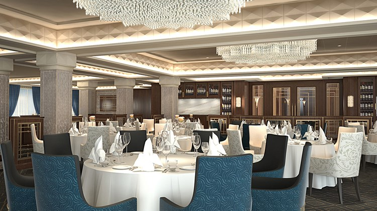 The 698-passenger ship will undergo a dry-dock renovation next year, part of a $125 million investment in the Regent Seven Seas Cruises fleet. It will embark on its first post-renovation sailing in May. Signature restaurant Compass Rose on Deck 5 will get a completely new look during the renovation. A rendering, courtesy of Regent Seven Seas Cruises, shows the planned renovation of the restaurant, its chandeliers being manufactured by the Czechoslovakian company Preciosa.