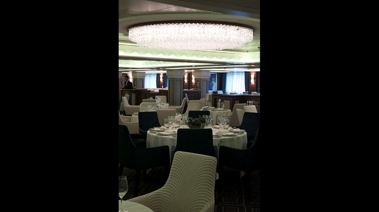 The Compass Rose restaurant aboard the Seven Seas Navigator, seen here, has already been renovated, giving a good idea of what Mariner's signature restaurant will look like.