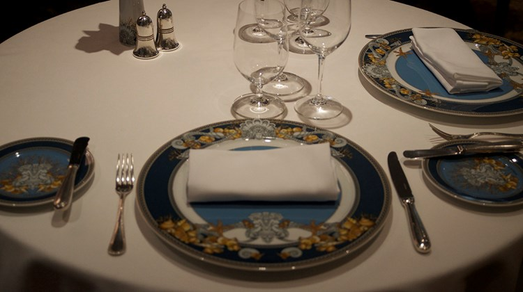 Versace chargers and plates were custom designed for Regent Seven Seas Cruises and will grace the tables of the renovated Compass Rose.