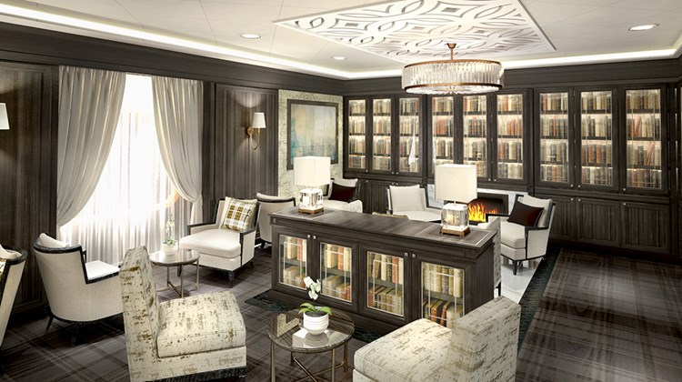 A rendering, courtesy of Regent Seven Seas Cruises, depicting the Mariner's new library.