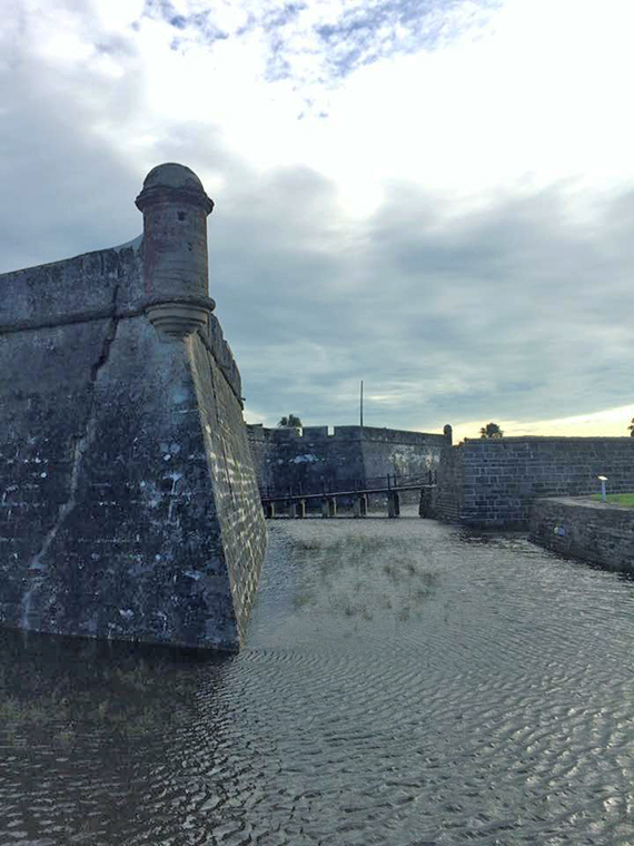 Hurricane Matthew filled the usually dry moat at the Castillo de San Marcos fort in St. Augustine, harkening back to the structure's 17th century origins.