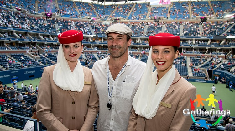 Actor Jon Hamm was among the celebs who dropped by the Emirates Suite at Arthur Ashe Stadium in Queens, N.Y., during the U.S. Open tennis tournament. Emirates is the official airline of the Open. The suite is known for having a steady stream of big names visit throughout the week.