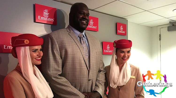 Former NBA star Shaquille O'Neal paid a visit to the Emirates Suite at the recent U.S. Open tennis tournament at Arthur Ashe Stadium in Queens, N.Y. Emirates is the official airline of the Open. The staff in its luxury suite are decked out in Emirates flight attendant uniforms.