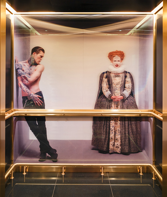 Elevators at the Mondrian London are adorned with holographic, life-size images featuring unlikely pairs, such as a tattooed rock star with Queen Elizabeth I and an astronaut with an English rapper.