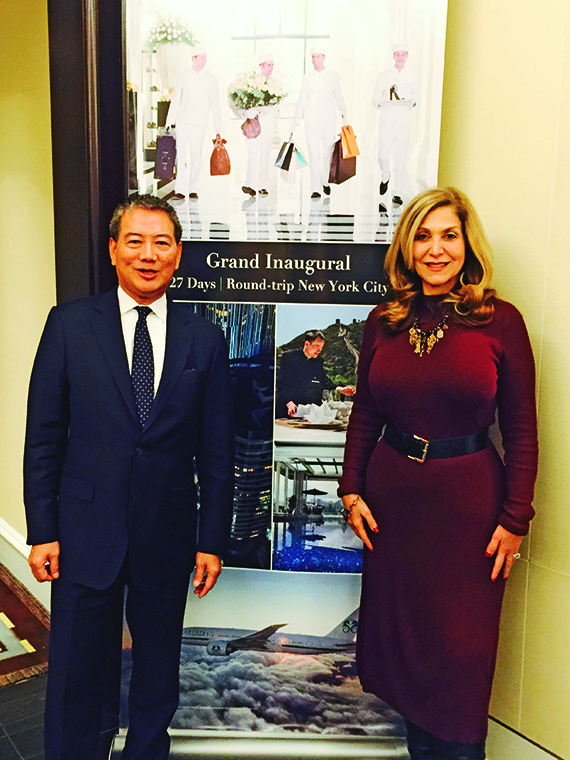 Peninsula Hotels vice president of sales Simon Yip with Crystal CEO Edie Rodriguez.