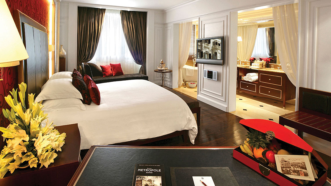 A Grand Premium guestroom in the 116-year-old Sofitel Legend Metropole.