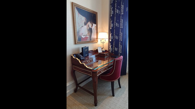 A desk in a room at the Trump International Hotel Washington, D.C.