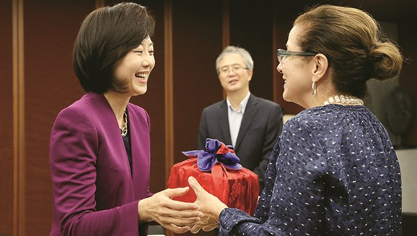 The author with Yoon-Sun Cho, Korea's minister of tourism, sports and culture.