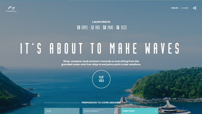 The temporary homepage for CruisingStore.com, a cruise-focused OTA that is expected to make its debut early next year.