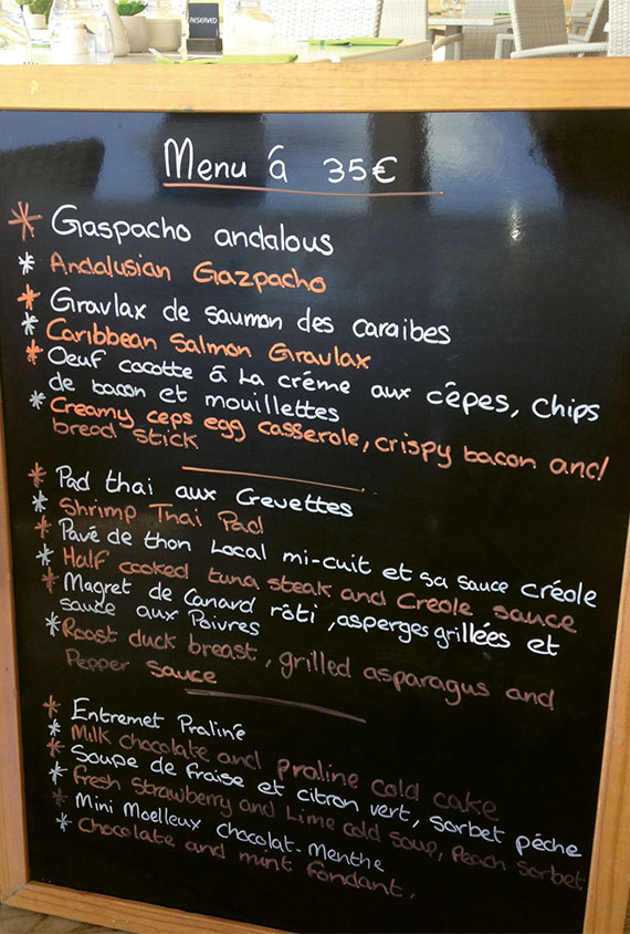 The menu for the beachfront restaurant at the Anse Marcel Beach Resort, with an array of seafood, salads, soups and meat dishes. Photo Credit: Gay Nagle Myers