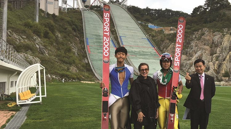 The author with members of the South Korean ski-jump team and Choi Il Hong, the manager of the Olympic Business Division, at Alpensia.<br /><br /><strong>Photo Credit: Courtesy of Patricia Schultz</strong>