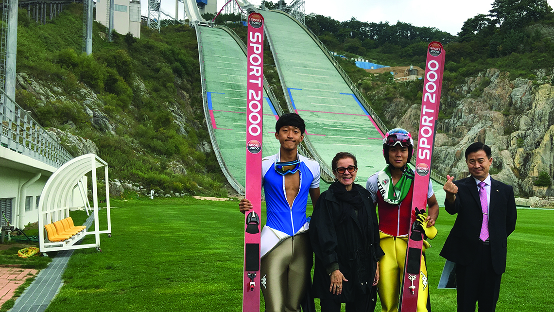 The author with members of the South Korean ski-jump team and Choi Il Hong, the manager of the Olympic Business Division, at Alpensia. Photo Credit: Courtesy of Patricia Schultz