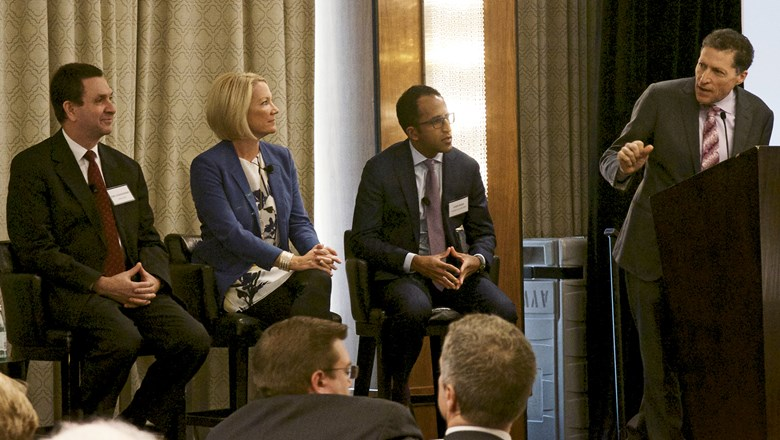 During a panel discussion at Tzell's branch meeting, from left, Emirates' Joel Goldowsky, Sabre's Shelly Terry, American Airlines' Vasu Raja and Travel Weekly's Arnie Weissmann.