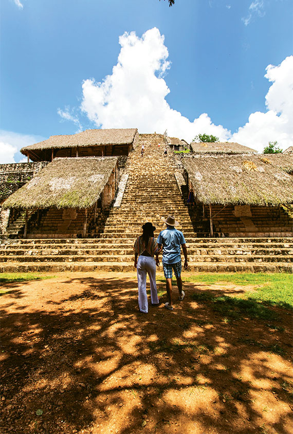 The Ek Balam complex has 45 structures and is surrounded by two stone walls linking most of the other buildings.