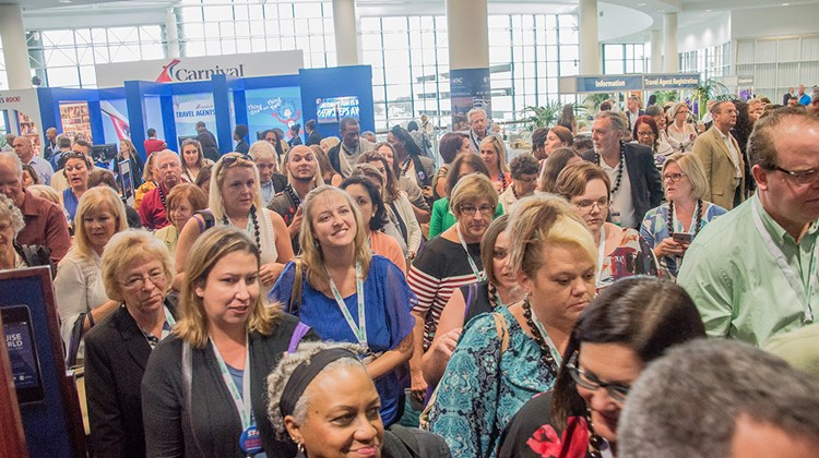 CruiseWorld attendees at the Fort Lauderdale convention center before the general session.
