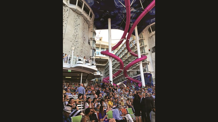 The Royal Caribbean International ship was named Nov. 10 in Fort Lauderdale in an event that included cameo appearances by an aerialist and one of the ship's robotic bartenders, as well as a musical performance and the christening itself by Teach for America educator Brittany Affolter. Pictured here, guests began to gather in the Aqua Theater for the naming ceremony.