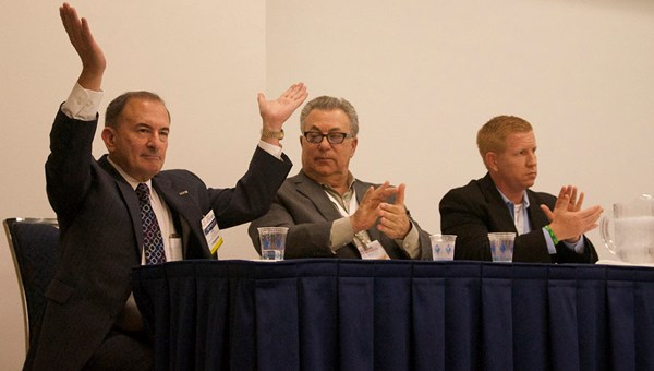"The ""Selling U.S. Travel"" panelists (from left): Joel Cohen, New York City Vacation Packages; Barry Karp, ShoreTrips; and Thomas Valley, SeaWorld Parks & Entertainment."