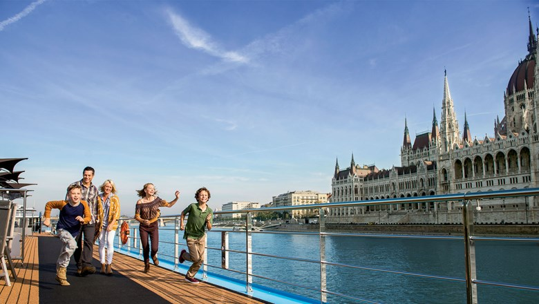 Adventures by Disney's cruises on the AmaViola sail by Budapest's Parliament building.
