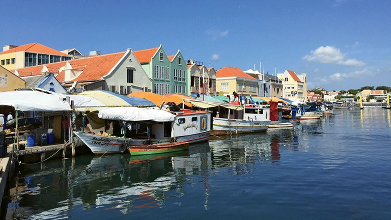Fishing boats docked in Willemstad, the capital of Curacao.
