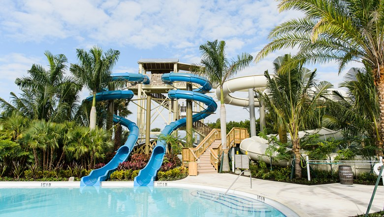 The resort added three three-story waterslides and a lazy river to its existing water options.