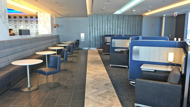 The new Polaris lounge at Chicago O'Hare features pods with power outlets and pullout desks.