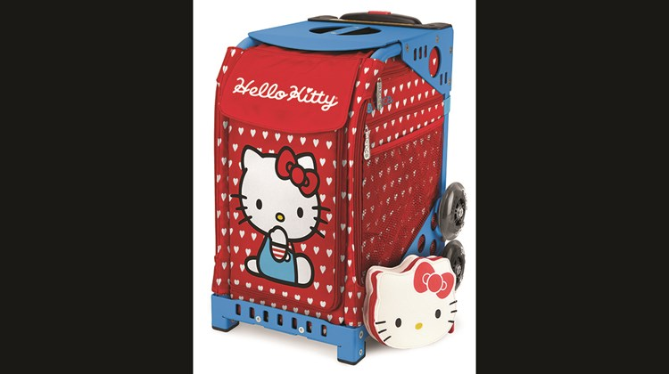 Sport luggage maker ZUCA and Sanrio, which licenses the iconic Hello Kitty brand, are partnering to offer five iterations of a line of luggage that sport the instantly recognizable Hello Kitty images. Each bag, at 18 by 10 by 13 inches, has a built-in seat supported by an exoskeleton frame that can bear up to 300 pounds, flashing dual wheels, a telescoping handle and a soft inset bag (and mini-pouch) that can be removed for washing. The Hello Kitty designs comprise Labor of Love (pictured), Beach Bum, Leopard, Sail With Me and Good as Gold.