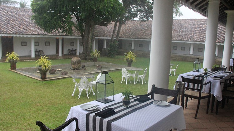 The courtyard of Tamarind Hill, an 18th century colonial mansion that is now part of the Small Luxury Hotels of the World collection, in Galle.<br /><br /><strong>Photo Credit: Arnie Weissmann</strong>