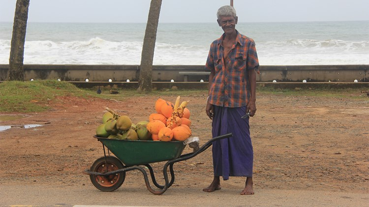 A coconut salesman by the seaside in Galle.<br /><br /><strong>Photo Credit: Arnie Weissmann</strong>