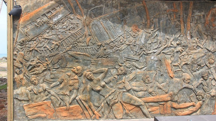 A bas relief memorial along Sri Lanka&#39;s southwest coast illustrates the horrors of the tsunami.<br /><br /><strong>Photo Credit: Arnie Weissmann</strong>