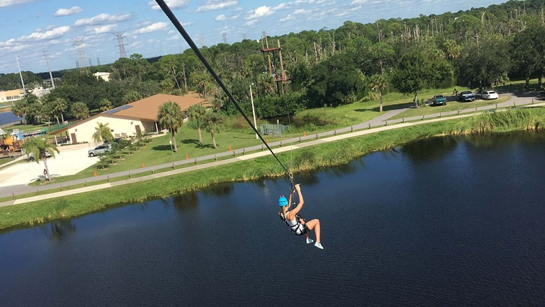 Empower Adventures' zipline course traverses Mobbly Bayou Wildlife Preserve, a city park in Oldsmar, Fla.